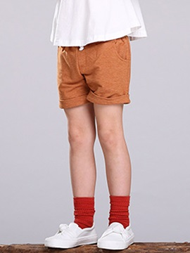 Solid Color Pocket Lace-Up Girl's Shorts