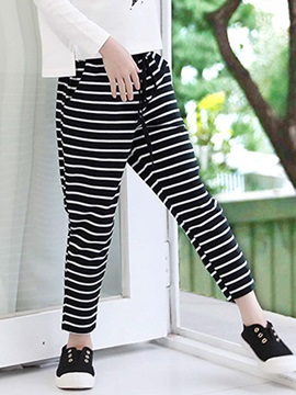 Lace-Up Stripe Girl's Casual Pants