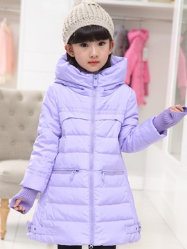 Solid Color Turtle Collar Zip Long Sleeve Girl's Outwear