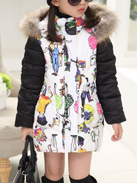Printed Long Sleeve Zip Hat Thick Girl's Outwear