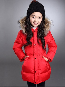Solid Color Long Sleeve Zip Warm Girl's Outwear