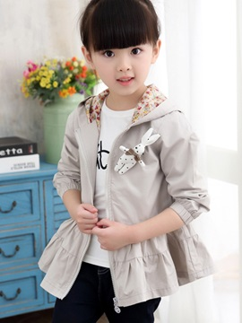 Sweet Floral Skirt Pleated Hooded Girls' Outerwears