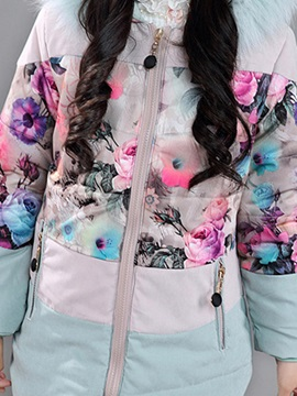 Sweet Floral Printed Patch Hooded Fur Collar Girls' Outerwear