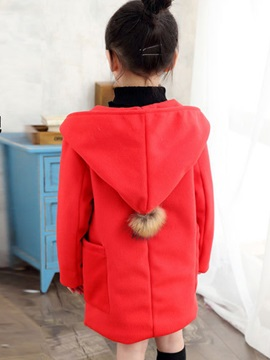 Sweet Woolen Stud-Snap Hooded Long Girls' Outerwear