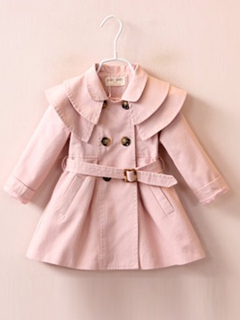 Fashion Layers Collar Double-Breasted Belt Girls' Outerwear