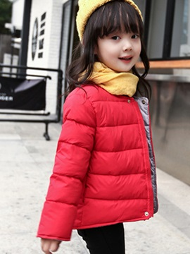 Casual Collarless Pure Zipper Girls' Outerwear