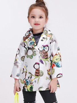 Fashion Owl Printed Lapel Collar Girls' Outerwear