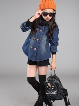 Double-Breasted Round Neck Denim Girl's Jacket