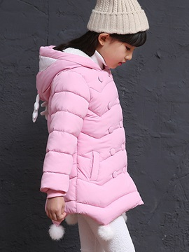 Candy Color Plush Ball Double-Breasted Girl's Coat