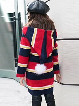 Colored Stripe Single-Breasted Girl's Overcoat