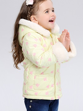 Stylish Floral Front-Zip Girl's Coat