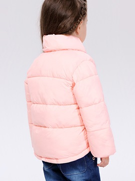 Solid Color Lapel Collar Girl's Quilted Jacket