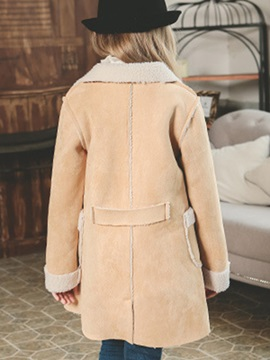 Winter Single-Breasted Lambswool Girls Trench Coat