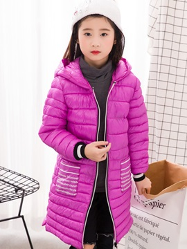 Medium Length Style Zip-Front Girl's Coat