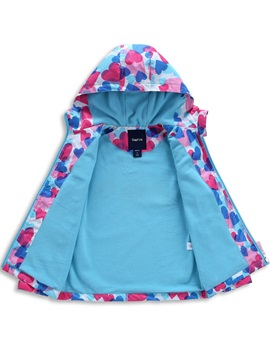 Fashion Heart Printed Color Block  Girl's Coat