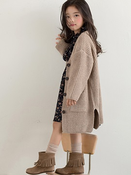 V-Neck Single-Breasted Thick Girl's Sweater Cardigan