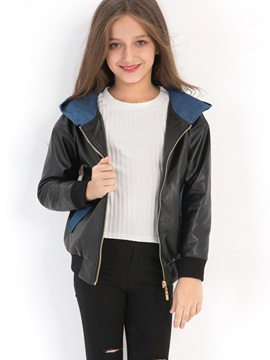 Color Block Hooded Zipper Girls' PU Jacket
