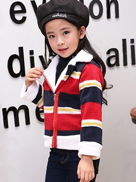 Color Block Striped Zip Cotton Girls' Jacket