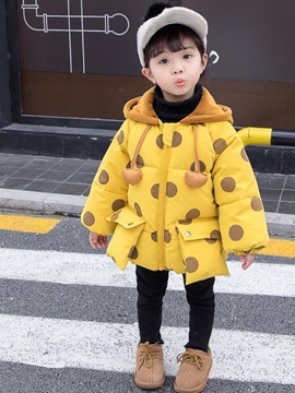 Polka Dots Hooded Girls' Fluffy Cotton Coat