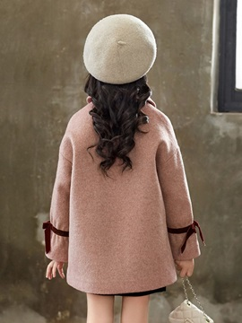 Wool Blends Double-Breasted Girls' Overcoat