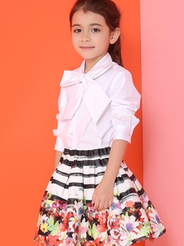 Sweet Bowknot Collar Pure Diamond Button Girls' Shirt