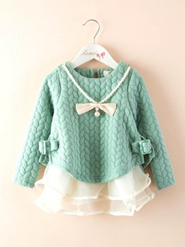 Pink Bow Knot Long Sleeve Girl's Dress