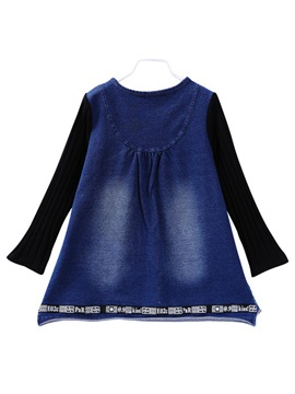 Korean Print Denim Patchwork Tee Girls' T-Shirts