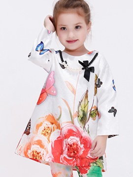 Mori Girl Flowers&Butterfly Printed Necklace Girls' T-Shirt