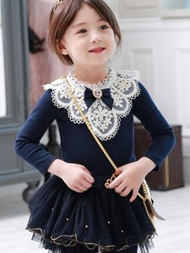Chic Lace Ruffles Girl's Dress