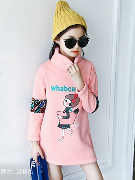 Cartoon Print Turtleneck Thick Girl's Sweater