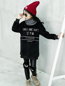 Letter Print Mid-Length Thicken Girl's Sweater