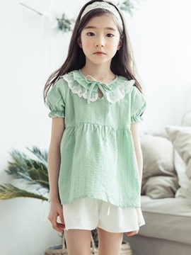 Lace Cotton Auricularia Collar Girl's Dress