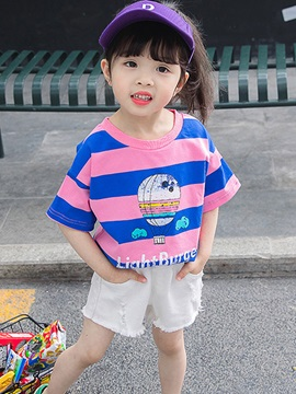 Wide Striped Short Sleeve Girls' T-Shirt