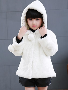Thick Hooded Hidden Button Girl's Winter Jacket