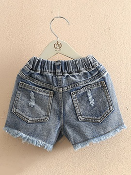 Summer New Girl's Children's Clothing Hole Denim Shorts