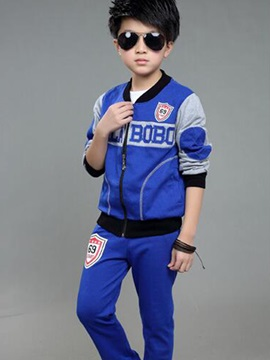 Sport Color Block Patchwork Thread Collar Three-Piece Boys' Outfits