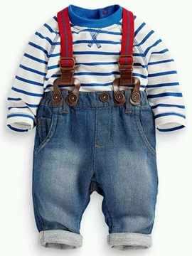 Fashion Strip Tee Suspender Denim Worn Two-Piece Boys' Outfit