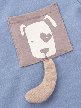 Cute Dog Pocket Patch Pure Two-Piece Boys' Outfit