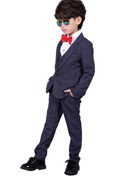 Plaid Three Pcs Boys Pant Vest Blazer Formal Boy Suit