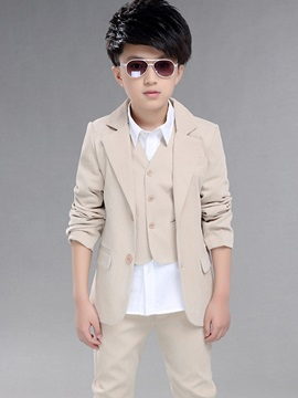Three Pcs Vest Blazer Pants Boy Suit with Solid Color