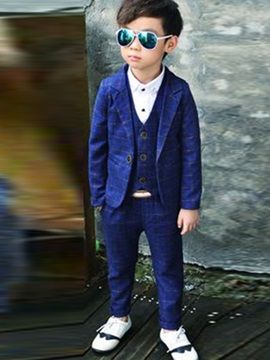 Vogue Plaid Buttoned Boy's 3-Piece Outfit