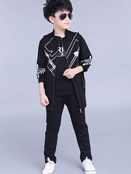 Simple Printing Zipper Boy's 3-Piece Outfit