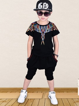 Simple Printing Boy's T-Shirt & Haren Pant