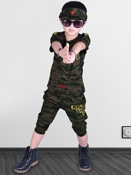 Simple Camouflage-Print Boy's 2-Piece Outfit