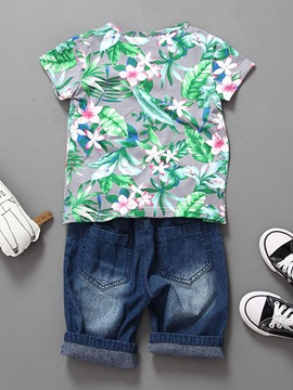 Flower Short Sleeve & Ripped Jeans Boy's 2-Piece Outfit