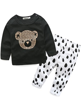 Sweet Bear Printed Top And Polka Dots Pants Boy's Outfit