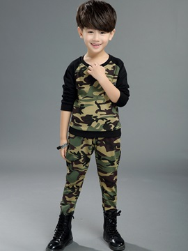 Camouflage Long Sleeve T-Shirt & Trousers Boy's Outfit