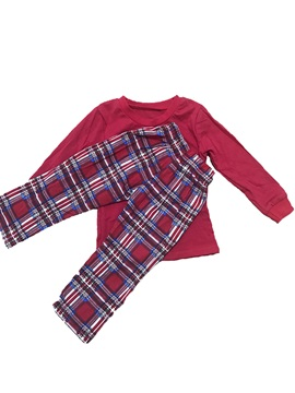 Christmas Plain Shirt & Plaid Trousers Unisex Outfit Pajamas