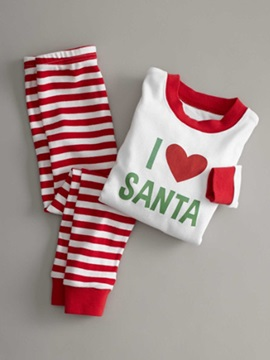 Christmas Letter Print Shirt & Stripe Trousers Unisex Outfit Pajamas