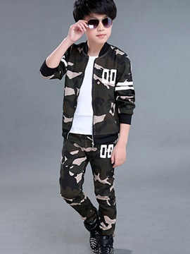 Camouflage Zipper Jacket with Pants Boy's Outfit